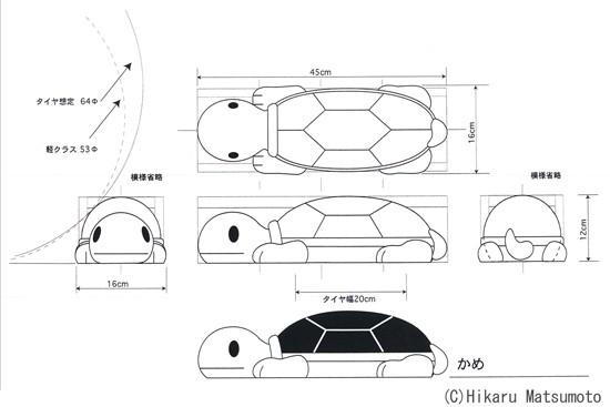 置くだけ車止め・カーストッパー かめデザイン画