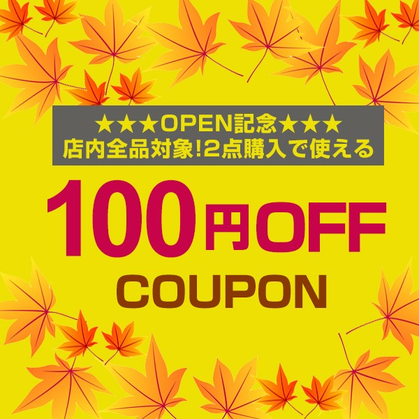 【新規OPEN記念】2点購入で100円OFFクーポン