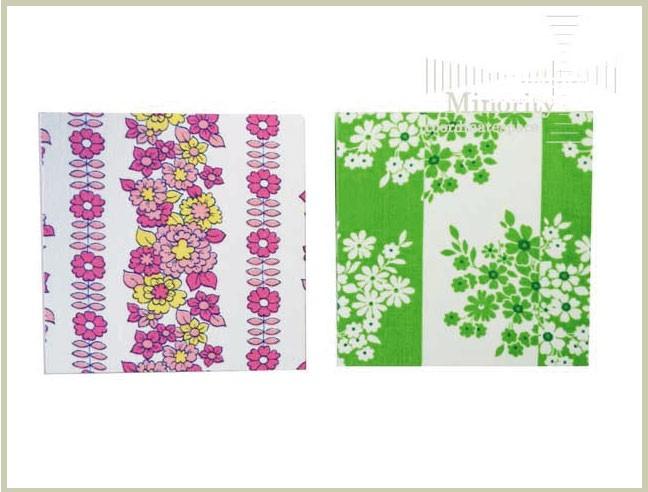 ドイツ ビンテージファブリックパネル 花柄 グリーン ホワイト ピンク 15cm×15cm