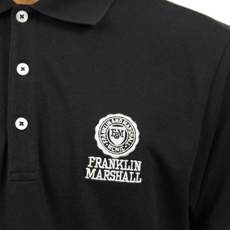 フランクリン マーシャル FRANKLIN&MARSHALL 正規販売店 メンズ 半袖ポロシャツ  POLO SHIRT BLACK POMF130AN 4061 0021