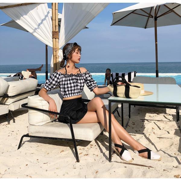 水着レディース ビキニ オフショルダー 体型カバー セパレート スカート ショートパンツ 4点セット ワイヤー入り 大人 ママ かわいい セクシー|mizuki-store|24