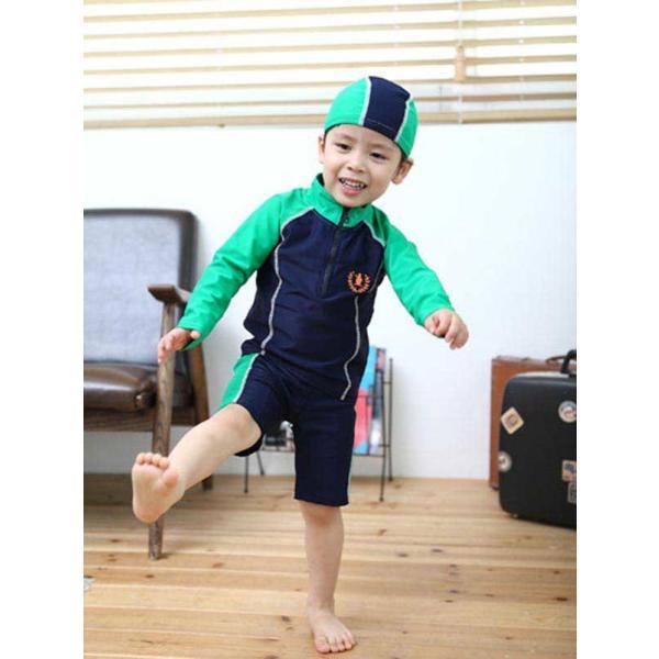 子供 水着 男の子 長袖トップス ハーフパンツ キャップ付き 3点セット ジュニア 90 100 110 120 130cm スクール ラッシュガード|mizuki-store|22