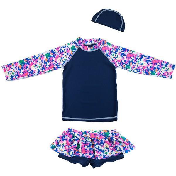 キッズ 水着 女の子 セパレート 子供 ジュニア 3点セット 長袖トップス スカート風パンツ スイムキャップ mizuki-store 12