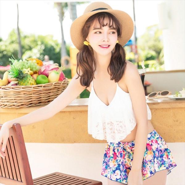 ビキニ 水着 レディース 3点セット 体型カバー 水着 大きいサイズ フレア レース ビキニ 花柄 白 黒 かわいい ショートパンツ mizuki-store 22