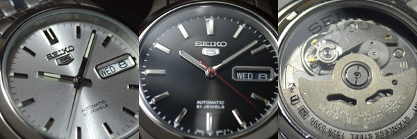 セイコー5について:一般的に高価になりがちな機械式腕時計ですが、安価でしかも電池交換が不要と言う面で、世界中に高い認知度を誇ります。高級腕時計のような日差±10秒内などと言う高精度は期待できませんが、実際に着用しての日差±1分程度の誤差を許容できる方にはオススメのSEIKO5(セイコーファイブ)