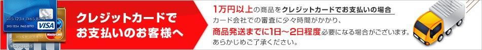 1万円以上の商品をクレジットカードでお支払いの場合カード会社での審査に少々時間がかかりますので、商品発送までに1日〜2日程度必要になります。あらかじめご了承ください。
