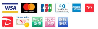 VISA, Mastercard, JCB, Diners Club, American Express