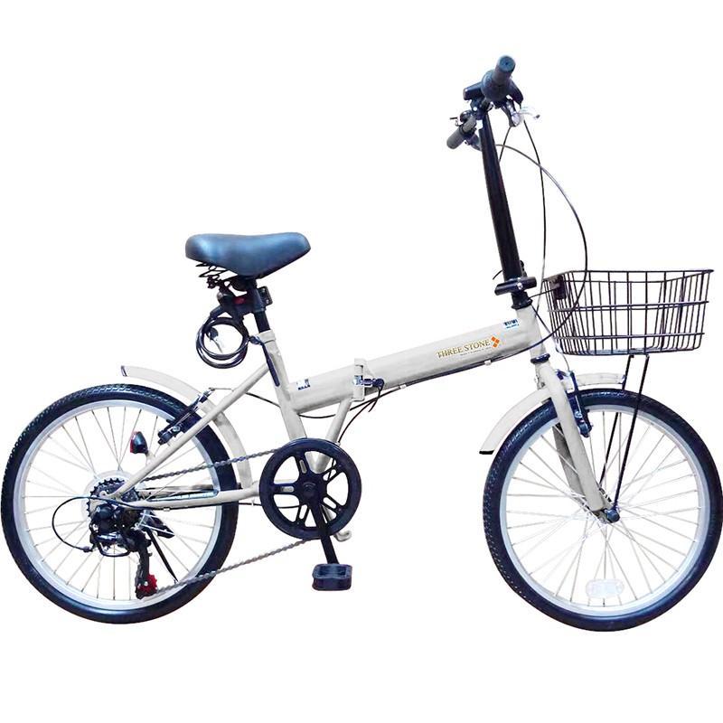 折りたたみ自転車 20インチ ノーパンクタイヤ カゴ付き シマノ6段ギア MOBI-CYCLE MB-05 自転車/折り畳み/カゴ付き|mobimax|24