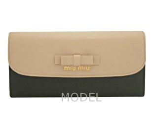 ミュウミュウ 財布 2014 新作 リボン バイカラー 長財布 レディース 5M1109 商品コード miumiu165 商品画像 1