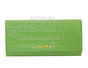 ミュウミュウ 財布 アウトレット クロコ型押し 長財布 グリーン 5M1109 商品コード miumiu-outlet-026 商品画像 1