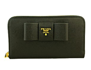 プラダ 財布 レディース リボン 長財布 黒/ブラック サフィアーノ 1M0506 アウトレット 商品コード PRADA-OUTLET-172 商品画像 1