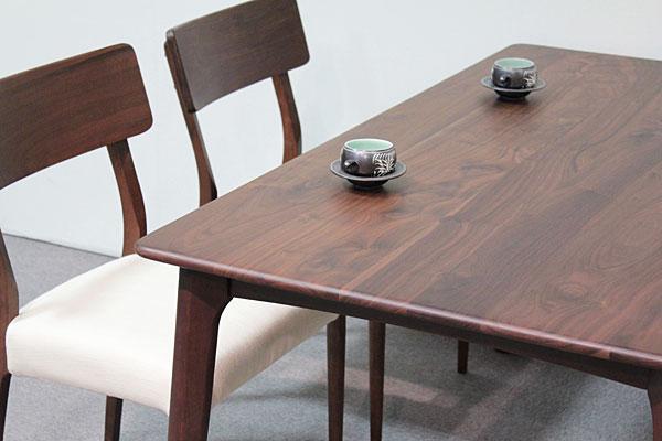 画像1:ウォールナットダイニングテーブル【スローライフ 1400 長方】5点セット/天然木食卓テーブル