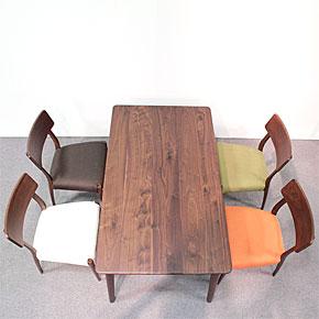 画像2:ウォールナットダイニングテーブル【スローライフ 1400 長方】5点セット/天然木食卓テーブル
