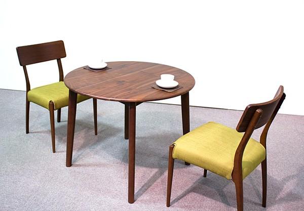 画像6:ウォールナットダイニングテーブル【スローライフ 900 円形テーブル】3点セット/天然木食卓テーブル