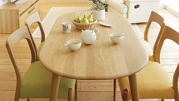 画像1:クローバー楕円形ダイニングテーブル 1500 5点セット/天然木食卓テーブル