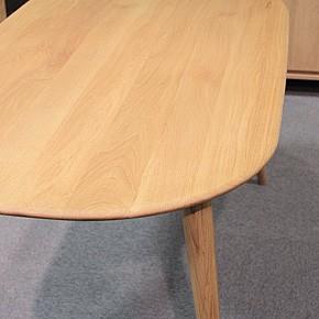 画像3:クローバー楕円形ダイニングテーブル 1500 5点セット/天然木食卓テーブル