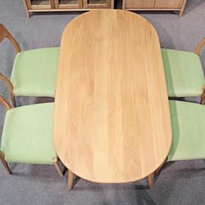 画像8:クローバー楕円形ダイニングテーブル 1500 5点セット/天然木食卓テーブル