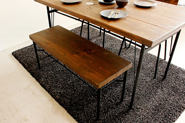 画像2:ダイニングベンチ ベンチ ケルト kelt 古材家具 アイアン家具 ベンチチェア 食卓椅子