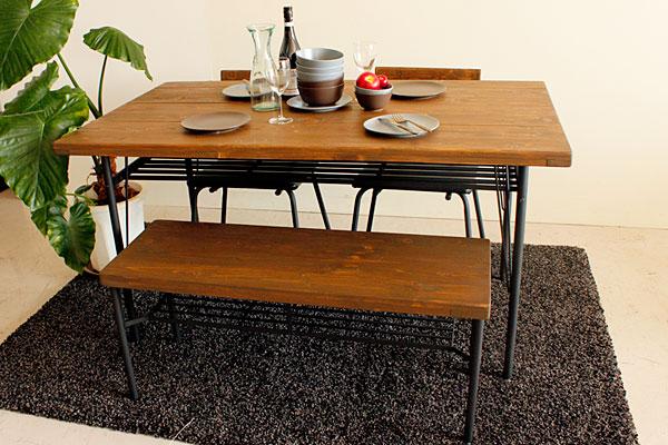 画像1:ケルト ダイニングテーブル 140 4点セット kel 古材家具 アイアン家具 ダイニングセット 食卓テーブル ベンチ