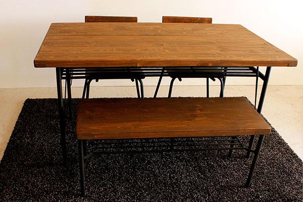 画像2:ケルト ダイニングテーブル 140 4点セット kel 古材家具 アイアン家具 ダイニングセット 食卓テーブル ベンチ