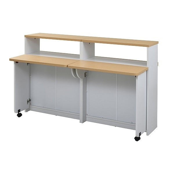 間仕切り 収納 両面収納 幅150 間仕切りキッチンカウンター 150cm幅 収納家具 キッチン収納 食器棚 折り畳み バタフライ テーブル|momoda|10