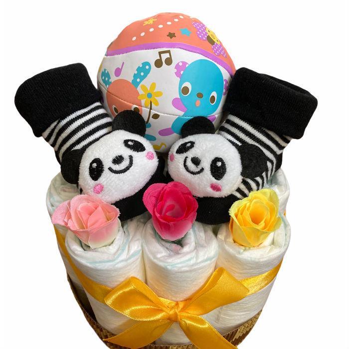 おむつケーキ 男の子 女の子 双子 出産祝い プチギフト  ソックス&ボール 選べる お手軽 オムツケーキ|monkeypanda333|11