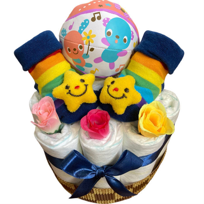 おむつケーキ 男の子 女の子 双子 出産祝い プチギフト  ソックス&ボール 選べる お手軽 オムツケーキ|monkeypanda333|14