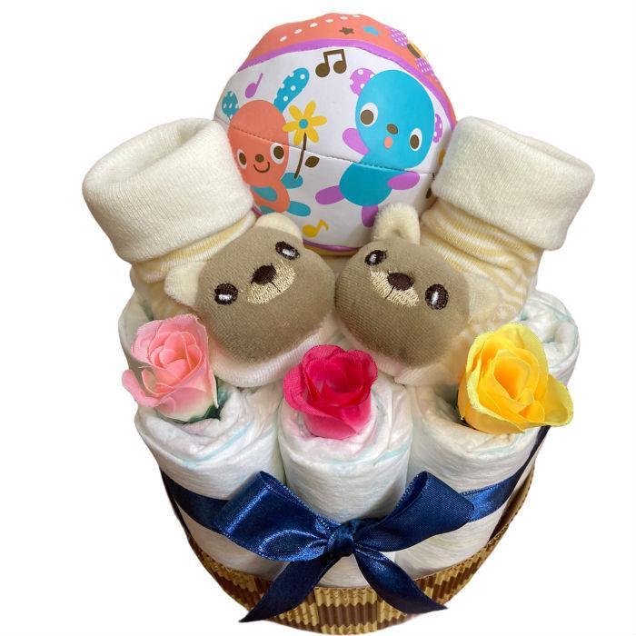 おむつケーキ 男の子 女の子 双子 出産祝い プチギフト  ソックス&ボール 選べる お手軽 オムツケーキ|monkeypanda333|12