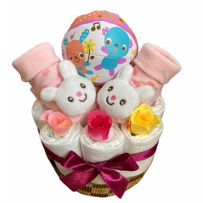 おむつケーキ 男の子 女の子 双子 出産祝い プチギフト  ソックス&ボール 選べる お手軽 オムツケーキ|monkeypanda333|15