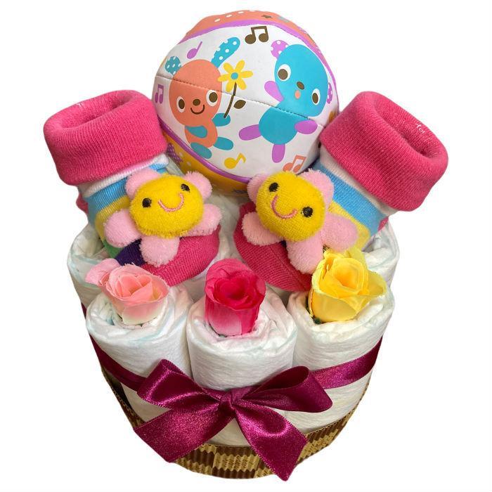 おむつケーキ 男の子 女の子 双子 出産祝い プチギフト  ソックス&ボール 選べる お手軽 オムツケーキ|monkeypanda333|16