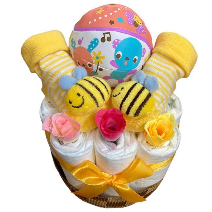 おむつケーキ 男の子 女の子 双子 出産祝い プチギフト  ソックス&ボール 選べる お手軽 オムツケーキ|monkeypanda333|10