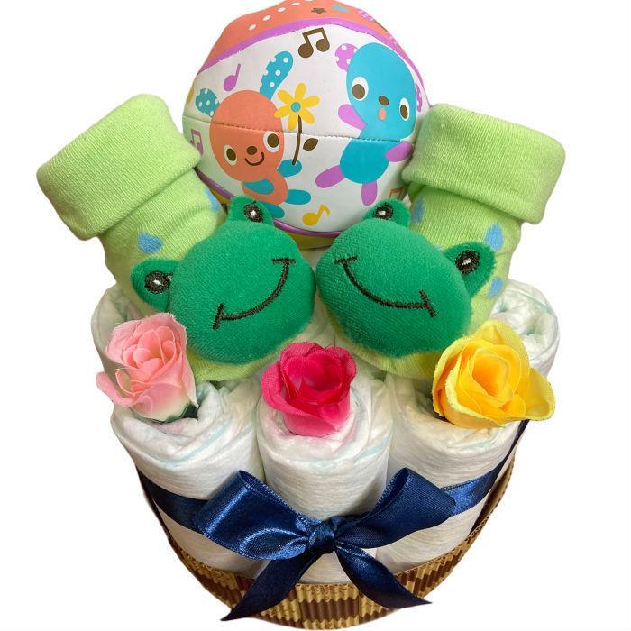 おむつケーキ 男の子 女の子 双子 出産祝い プチギフト  ソックス&ボール 選べる お手軽 オムツケーキ|monkeypanda333|13