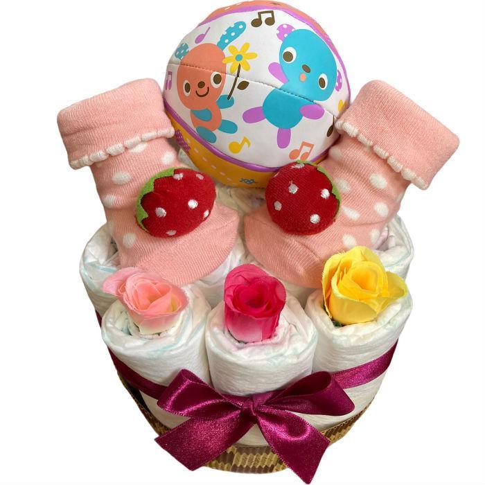 おむつケーキ 男の子 女の子 双子 出産祝い プチギフト  ソックス&ボール 選べる お手軽 オムツケーキ|monkeypanda333|17