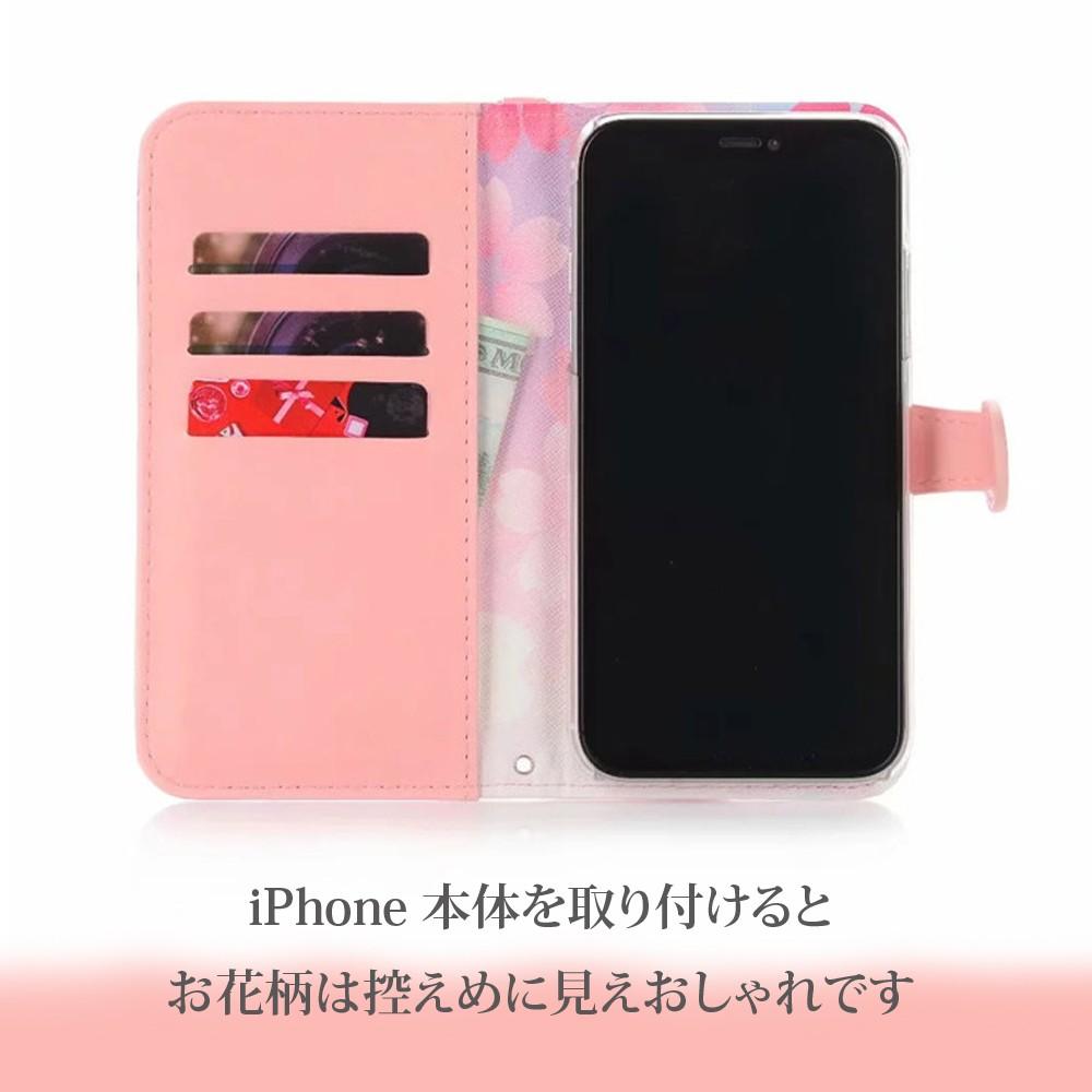 手帳型 ケース iPhone 11ProMax iPhone11Pro iPhone11 花柄 タッセル付き カード収納06