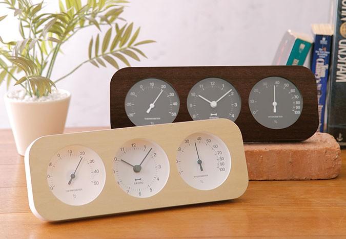 ウッド三連温湿時計 クロック