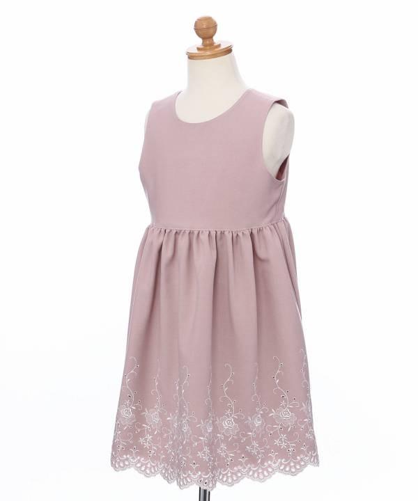 61bf7f17a3756 子供服女の子日本製 裏地付き お花刺繍入り ノースリーブワンピース ...