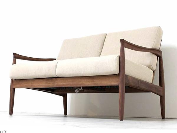 激安 2Pソファー 北欧デザイン 木肘ソファー ウォルナット無垢材 人気の北欧風の個性的なデザインの二人掛け木肘2Pソファー「エピセ」
