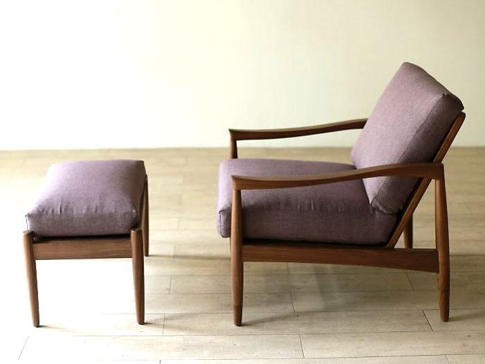 激安 1Pソファー 北欧デザイン 木肘ソファー ウォルナット無垢材 人気の北欧風の個性的なデザインのオットマン「エピセ」
