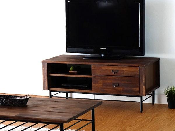 今なら送料無料、質感タップリのアカシヤ材で作った100cm幅テレビ台!リトル 120cm幅テレビボード アイアン素材を使ってヴィンテージテイストでカッコイイ 姫路家具 家具センタームラセ in 森のくに
