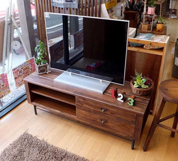 今なら送料無料、質感タップリのアカシヤ材で作った120cm幅テレビ台!リトル 100cm幅テレビボード アイアン素材を使ってヴィンテージテイストでカッコイイ 姫路家具 家具センタームラセ in 森のくに