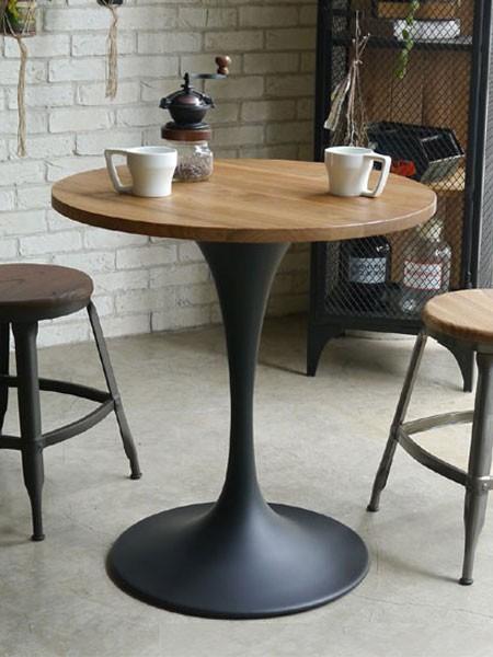今なら送料無料。ヴィンテージ風のアイアンと古材を使った円形70cm幅カフェテーブル(円卓)3010TABLE MOSHモッシュ ガルト