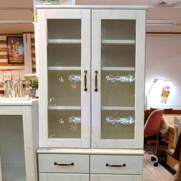 今なら送料無料!かわいいフレンチカントリー風、パイン材の木製ホワイトカラーの70cm幅食器棚 マリー
