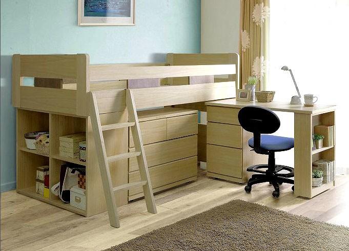 送料無料、ベッド下に収納できるデスクやチェストシェルフがついてる丈夫なタモ材のシステムベッド4点セット アクティブ 収納ベッド ミドルベッド