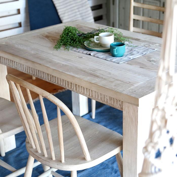 今なら送料無料!流木風のオシャレでクラッシックな120cm幅パイン古材のダイニングテーブル ホリデイズ アビー 食卓テーブル