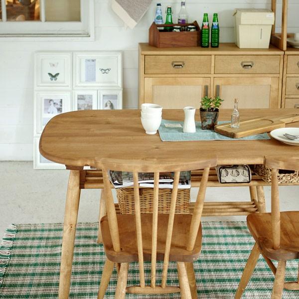 今なら送料無料!ナチュラルテイストの角が無いスッキリしたオイル仕上げの長方形140cm幅ダイニンテーブル アンジー ロジーテーブル140 Logie table 140