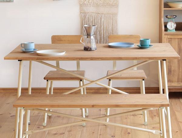 今なら送料無料!アイアン脚を使ったスッキリデザインの可愛い長方形130cm幅カントリーダイニングテーブル メイス テーブル Mace bench mam nora. 姫路家具 家具センタームラセ in 森のくに