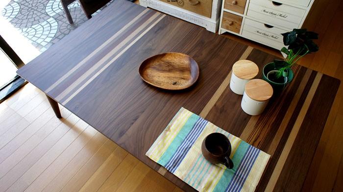 今なら送料無料!ウォールナット材など5種類の銘木で作られたシンプルデザインのコタツ!120cm巾北欧風こたつ LW-005プレス Wolk-on