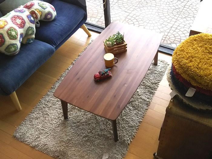 今なら送料無料、天然杢アカシア無垢材を使った一年中使えるセンターテーブル兼用のオシャレなお買い得な90cm幅こたつ ニコル ウォールナット色 JAN4582304456739