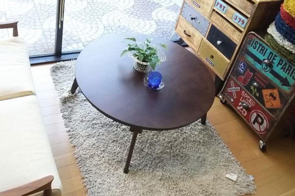 今なら送料無料、節ありのナラ材を使った自然なイメージのシンプルな折れ脚機能付き国産・日本製90cm丸コタツ 円形こたつ さぬき丸 讃和 ナラ・オーク ブラウン色