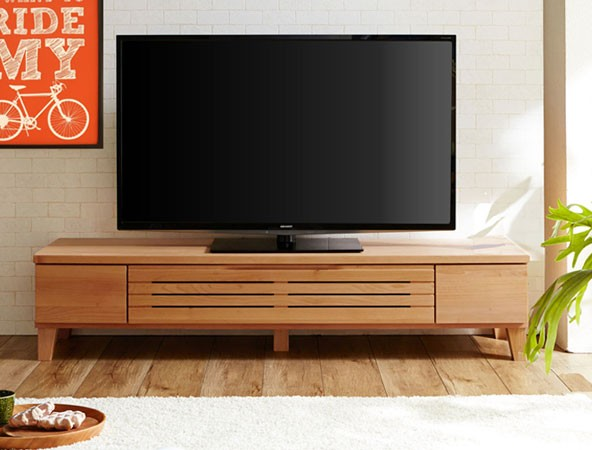 今なら送料無料。きれいなアルダー材の北欧風のナチュラルテイストでシンプルな160cm幅テレビ台 ルーバータイプ アルト160ローボード/テレビボード